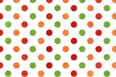 Watercolor orange, red and green polka dot background. Watercolor dots in orange, red and green color. Watercolor orange, red and green polka dot background Royalty Free Stock Photography