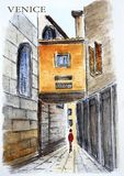 Venice, Italy. City sketch. Watercolor drawing of an ancient street in Venice, Italy. City sketch Stock Photo
