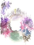 Watercolor drawing of blossoming spring garden vector illustration
