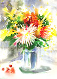Watercolor drawing of a bouquet with chrysanthemum Stock Images