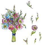 Watercolor drawing bouquet of flowers Stock Image