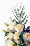 Watercolor drawing bouquet of white flowers stock image