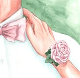 A watercolor drawing of the bride and groom stock images