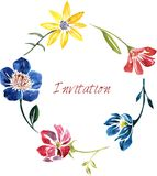 Watercolor drawing card with flowers Stock Images