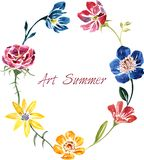 Watercolor drawing card with flowers Stock Photography