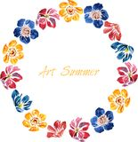 Watercolor drawing card with flowers Royalty Free Stock Image