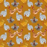 Animal seamless pattern with chicken and rooster. Hand-drawn watercolor illustration, ideal for printing on fabric, packaging. stock illustration