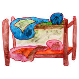 Watercolor drawing children bed, bunk cartoon on a Royalty Free Stock Photo