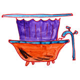 Watercolor drawing a children cartoon bath on Royalty Free Stock Photography
