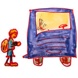 Watercolor drawing children cartoon bus on a white Royalty Free Stock Images