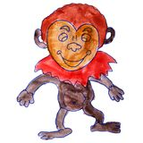 Watercolor drawing a children cartoon monkey on a white backgrou. Nd vector illustration