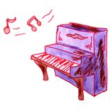 Watercolor drawing a children cartoon piano on a white backgroun Royalty Free Stock Images
