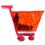 Watercolor drawing children cartoon trolley on a Royalty Free Stock Image