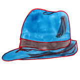Watercolor drawing children hat, blue cartoon on a Stock Image