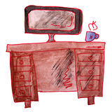 Watercolor drawing children table, work cartoon on Royalty Free Stock Photo