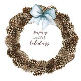 Watercolor drawing of a Christmas wreath made of cones of pine, cedar and fir trees for decoration for the new year and Christmas. On a white background Stock Photo
