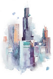 Watercolor drawing cityscape big city downtown, aquarelle painting. Watercolor drawing cityscape big city downtown, aquarelle painting royalty free illustration