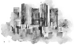 Watercolor drawing cityscape big city downtown, aquarelle painting. Watercolor drawing of New York cityscape, USA. Manhattan aquarelle painting Royalty Free Stock Image