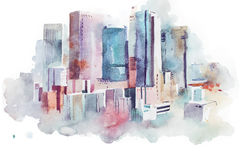 Watercolor drawing cityscape big city downtown, aquarelle painting. Watercolor drawing of New York cityscape, USA. Manhattan aquarelle painting Stock Photos