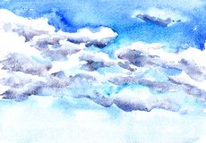 Watercolor drawing clouds Stock Photography
