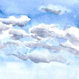 Watercolor drawing clouds Royalty Free Stock Image