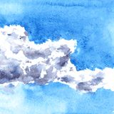 Watercolor drawing clouds Stock Images