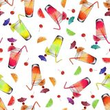 Pattern Watercolor Cocktails and Fruits royalty free illustration