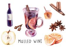 Watercolor drawing. composition of mulled wine set stock illustration