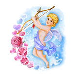 Watercolor drawing of cupid, love angel with wings in the sky. Saint Valentine's Day greeting card design. Add your text Stock Image