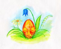 Watercolor Drawing of Decorated Easter Egg Royalty Free Stock Image
