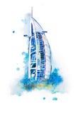 Watercolor drawing of Dubai hotel. Burj Al Arab aquarelle painting royalty free stock photography