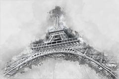 Watercolor drawing of the Eiffel Tower in Paris, France. City sk stock image