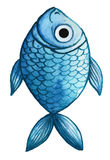 Watercolor drawing of fish, blue, blue fish, in the style of children`s drawing vector illustration
