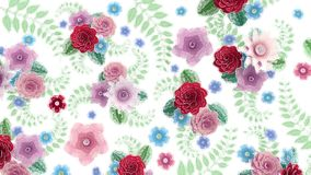 Watercolor drawing flowers growing, appearing, botanical background, full frame, aquarelle style cartoon, white royalty free illustration