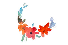 Watercolor drawing of fresh garden flowers, summer meadow bouquet aquarelle painting Royalty Free Stock Photography