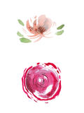 Watercolor drawing of fresh garden flowers, summer meadow bouquet aquarelle painting Royalty Free Stock Image