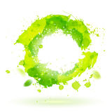 Watercolor drawing green curve symbol with splashes Stock Photo