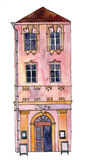 Watercolor drawing house Stock Photography