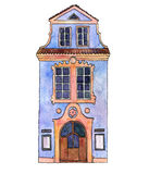Watercolor drawing house Stock Images