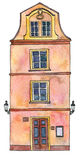 Watercolor drawing house Stock Image