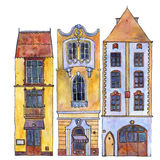 Watercolor drawing houses Stock Images