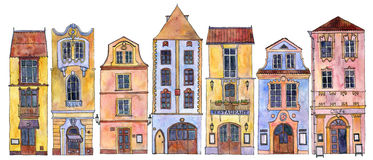 Watercolor drawing houses Stock Photo