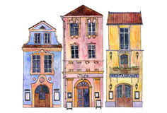 Watercolor drawing houses Royalty Free Stock Image