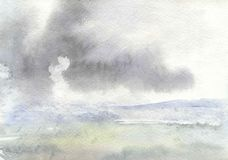 Watercolor drawing, illustration. Landscape with cloud and earth. It is raining. royalty free stock photography