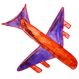 Watercolor drawing kids cartoon airplane on white Stock Photos
