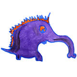 Watercolor drawing kids cartoon anteater on white Stock Photo