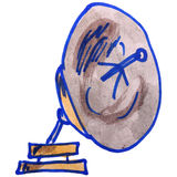 Watercolor drawing kids cartoon antenna on white Royalty Free Stock Image