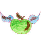 Watercolor drawing kids cartoon apple on white Stock Images