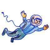Watercolor drawing kids cartoon astronaut on white Royalty Free Stock Images