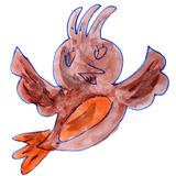 Watercolor drawing kids cartoon bird on white Royalty Free Stock Image